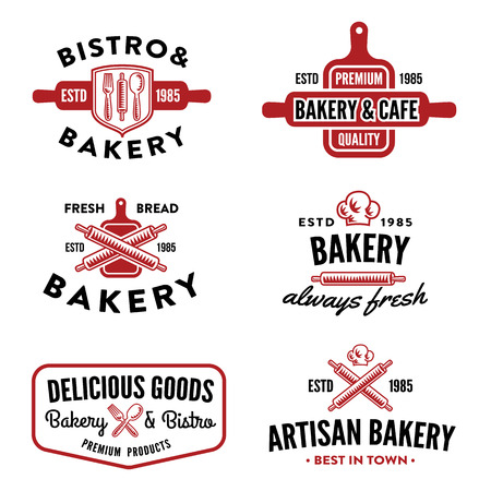 restaurant: Set of bakery labels, badges and design elements