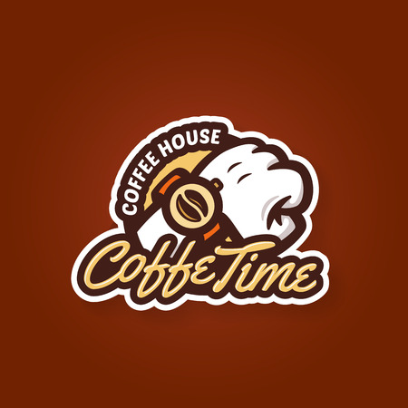 Coffee time badge label design concept symbol, vector Vector
