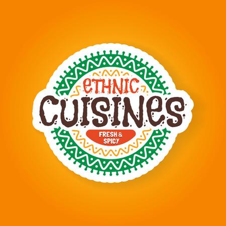 cuisines: Ethnic cuisines restaurant badge, vector illustration