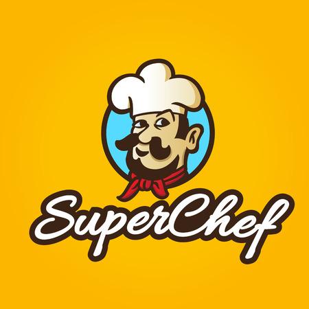 Retro colorful hand drawn chef symbol, vector illustration Vector