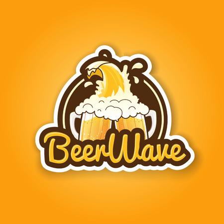 bbq barrel: Premium retro beer badge label sticker design for bar pub tavern