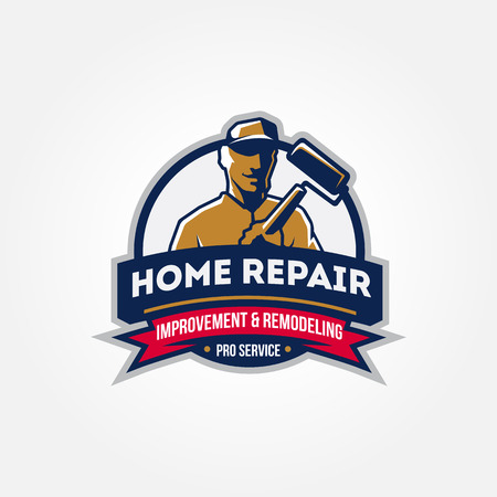 Handyman home repair corporate service badge symbol isolated on white background, vector illustration Illustration