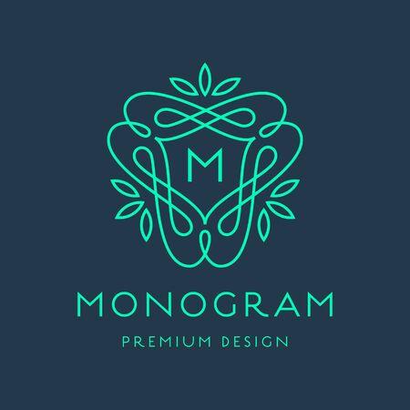 eleganz: Einfach und anmutig Monogramm-Design-Vorlage, Elegantes lineart Design, Vektor-Illustration Illustration