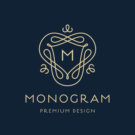 Simple and stylish monogram design template, Elegant lineart  design, vector illustration Illustration
