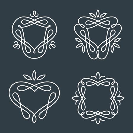 crown: Set of simple and graceful monogram design templates, Elegant lineart  design elements, vector illustration