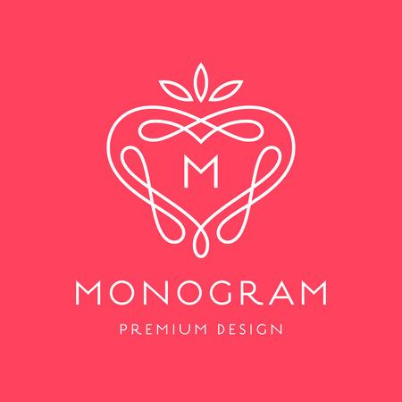 lineal: Plantilla Simple y elegante del monograma del diseño, elegante diseño del logotipo lineart, ilustración vectorial
