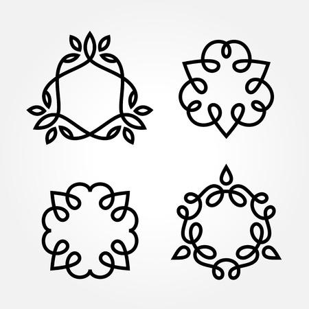 wedding decoration: Set of simple and graceful monochrome monogram design templates, Elegant lineart  design elements, vector illustration