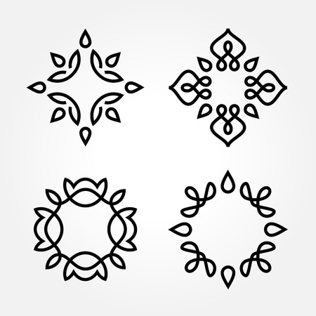 abstract flower: Set of simple and graceful monochrome monogram design templates, Elegant lineart  design elements, vector illustration