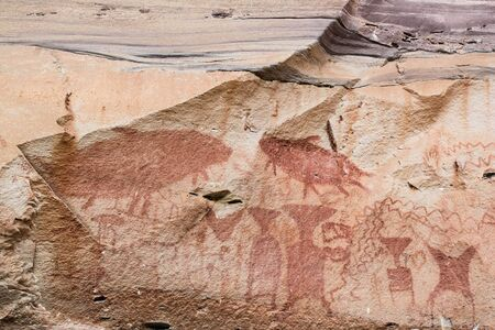 prehistory: Prehistory aged wall painting at Pha Taem national park in Thailand Stock Photo