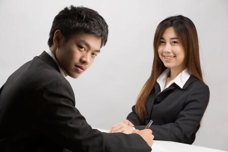 applicant: Asian men are going to a job interview