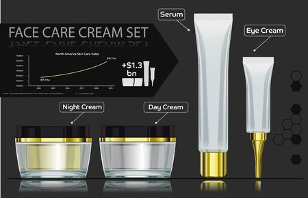 basic care: Example transaction reporting beauty products info-graphic style. basic face care cream set.