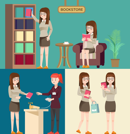 approach: Cute woman character in the bookstore.Situation at bookstore.Flat design.Buy books.Illustration for idea and approach to communication for advertise bookstore