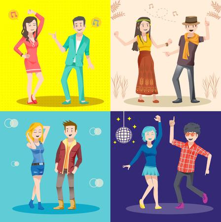 le style de danse du concept de design set. Mode pour le parti social. Thème danse fond.