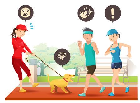 Mensen kunnen geen controle over haar hond. Obstakel van lopers in een openbare plaats. Vector Illustratie