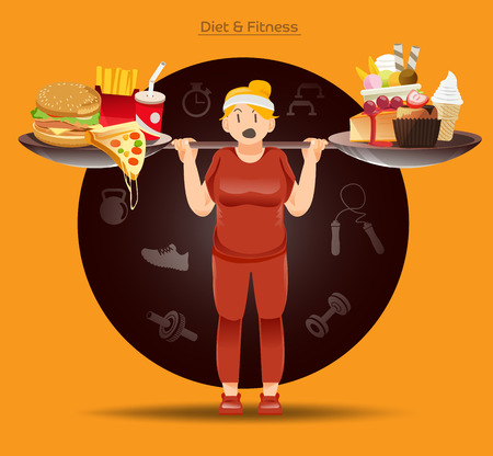 food fight: loose weight Concept. Fat people must have fight to her food. Heavy Burn calories.The burden of obesity .Illustration for approach to communication for Health.