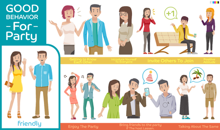 behavior: Practice guidelines for the party. Good behavior Character people for a Sociability . Illustration