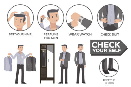 appropriately: How to Social Event. Dress men appropriately for party. Info-graphic style. Illustration
