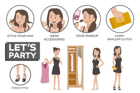 character of people: Clothing arrangements for event social. Dress women appropriately for party. Character people flat style.