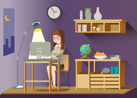 late: Women work late.Evening classes for yourself.Flat character design.Freelance life.Modern lifestyles.advantage of work at night. Illustration for idea of lifestyles