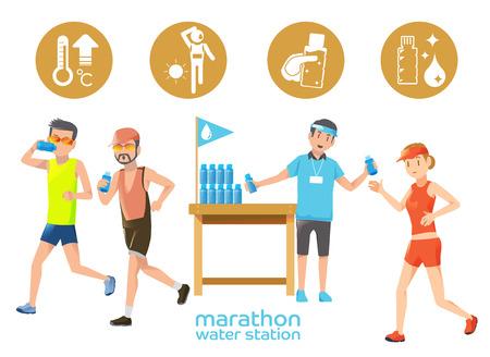 Marathon-Ikonen Wasserstation. Durst aus heißem Wetter im Wettbewerb. Die Ausdauerrenndistanz.