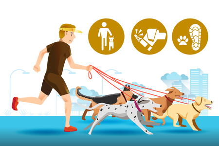 senior exercise: Senior trainer have control his dog.Dogs that are trained well.Icon of dogs trainer.Pet care in public.People with leader.Pet in city. Exercise with a dog. Illustration