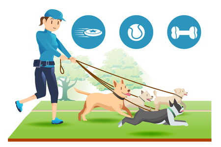 trainers: Senior trainer have control her dog. Exercise and relax with a pet. illustration and icons. Illustration