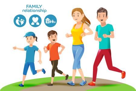 competencia: Las buenas relaciones en la familia. cuidado de salud básica para las personas. Los iconos y caracteres. Ilustración para publicitar running.