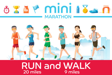 race: Marathon concept. Basic icons of running race. Character of runner. Outdoor sports graphic design.