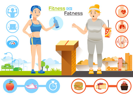 approach: Diet concept.The choice women between Slim or Fat.Characteristic of fat and slim.Illustration for idea and approach to communication for advertise Health.