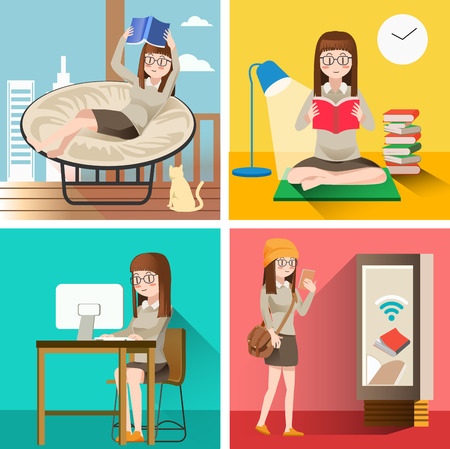 Reading life.Education in the media.Lifestyle woman.Illustration for idea of reader.Flat character design.Self-study.Hobby in holiday. The routine of students. Illustration