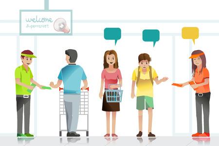Le persone sono l'attenzione ai volantini pubblicitari in supermercato. Illustrazione Idea per shopping.