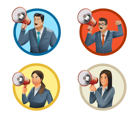 business man and woman advertise some information with megaphone.Four people with megaphone. Illustration