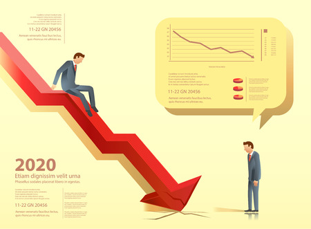 despondent: Manager slide down chart when business failure.Investment loss. Earnings report in the years. Illustration