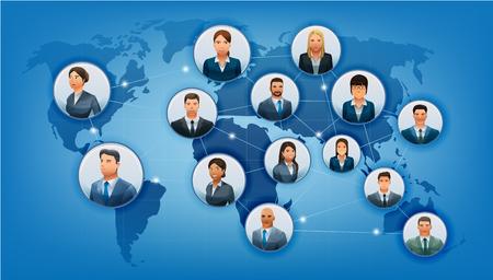 negocios internacionales: El mundo de los negocios de comunicaciones. La red de socios de cooperación en formato de mapa. la población étnica en internacional. No.1