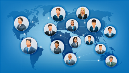 international business: The communications business world. Network of cooperation partners in Map format. Ethnic people in international. No.1