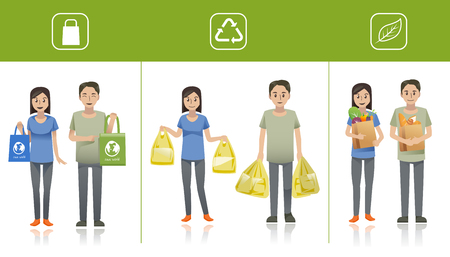 Shopper used different bag series for shopping in supermarket. Idea of people for Eco-life. Customers character.