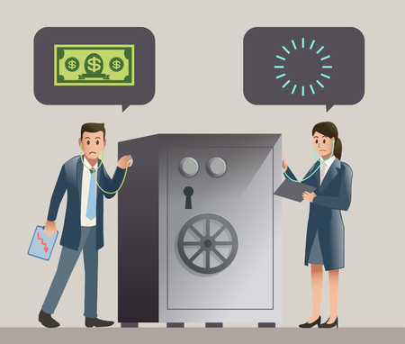 women and money: Businessman and women worry to their financial. Check money in account. Illustration