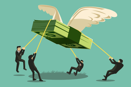 El proyecto de colaboración grande. la forma de un pájaro gigante dinero captura del hombre de negocios va a volar lejos. Ilustración de vector