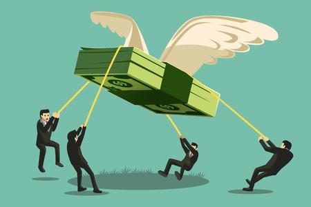 The Big Collaboration-Projekt. Geschäftsmann fangen Geld wie ein riesiger Vogel geformt wird wegfliegen. Vektorgrafik