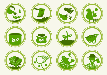 symbol icon: 12 Basic and Stickers icon organic collection. Approach to communication for agriculture product. Illustration