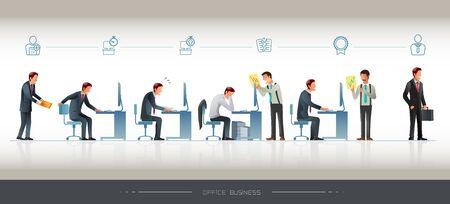 L'évolution de l'homme de bureau. Développement du travail avec des icônes. Obstacles au travail. Personnage pour différents travaux. Attitude au travail. Banque d'images - 62908777