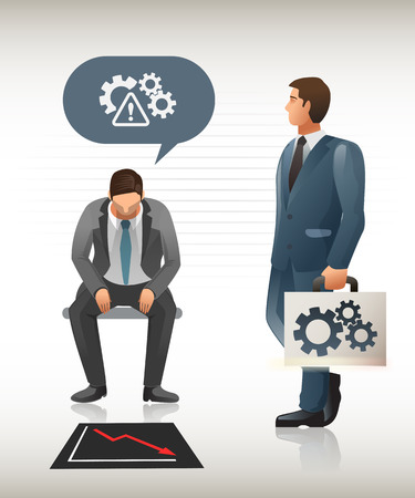rescued: Problem which needs rescued. Business Consultants can solve them on the spot. Illustration