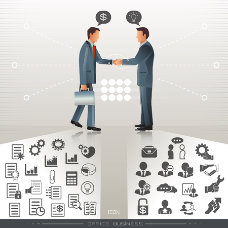 confrontation: handshake business,Businessman confrontation, employment and business icon. background business style.