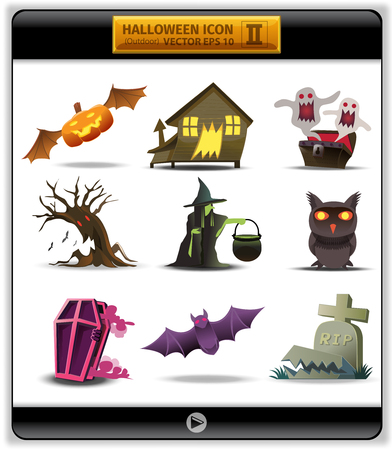 outside the house: Halloween color icon 2. illustration account something outside house on Halloween day. at the night evil are many. for example, pumpkin bat, haunted House, treasure ghost, tree demon,witch, devil owl.