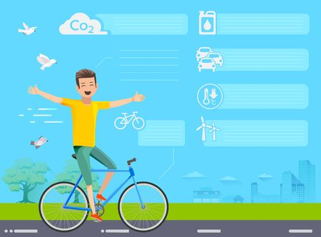 fresh air: Info-graphic of cycling for the Good environment. The embrace of nature. Fresh air at park. Illustration