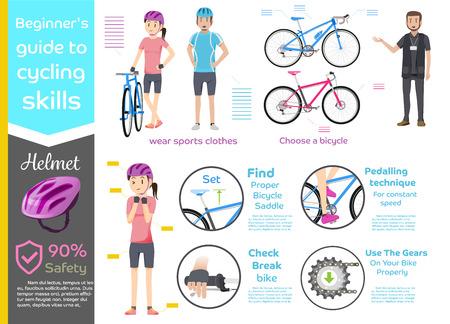 Info-grafica di bicicletta cavalcata di base per la formazione beginner.Cycling safety.The Introducendo bicicletta auto.
