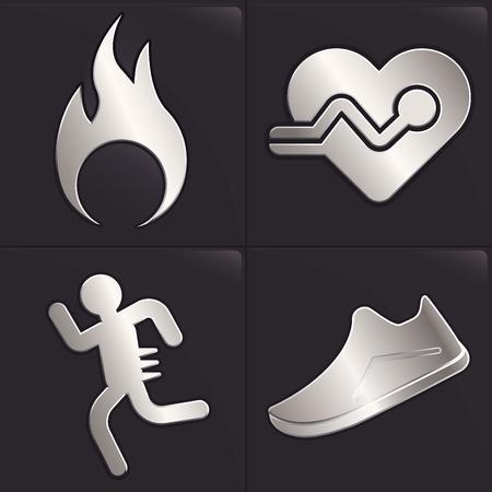 El platino se ejecuta el concepto de icono. 4 icono moderno, quemar calorías, frecuencia cardiaca, los corredores y la distancia. Ilustración de vector