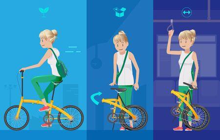 The use of bicycles in public transport everyday. The advantages of cycling for trips with yourself. Reducing traffic. Illustration