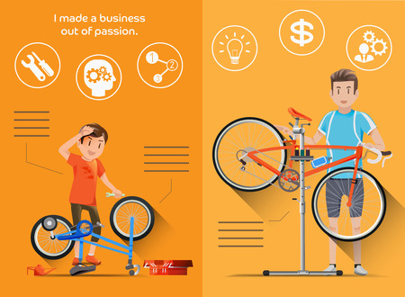 The build their own business from childhood in flat graphic style. People who are passionate bike to build bicycle shop. Illustration