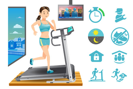 exercise machine: Woman use treadmill exercise machine in the house. Modern city lifestyle. Basic icon for fitness.